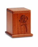 Rose Mahogany Keepsake Cremation Urn - Engravable