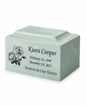 Roses Classic Cultured Marble Cremation Urn Vault - Engravable - 34 Color Choices