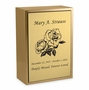 Roses Sheet Bronze Inset Snap-Top Niche Cremation Urn with Engraved Plate