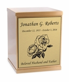 Roses Sheet Bronze Overlap Top Cremation Urn with Engraved Plate