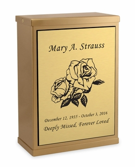 Roses Sheet Bronze Overlap Top Niche Cremation Urn with Engraved Plate