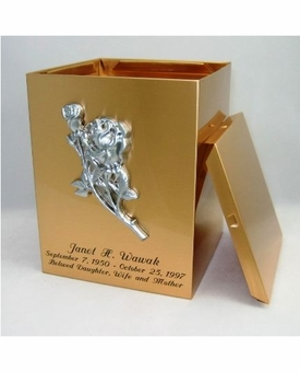 Roses Sheet Bronze Snap-Top Cremation Urn