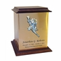 Roses Sheet Bronze With Walnut Trim Snap-Top Cremation Urn