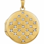 Round Diamond Gold Vermeil Memorial Locket Jewelry Necklace