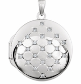 Round Diamond Sterling Silver Memorial Locket Jewelry Necklace