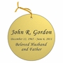 Round Double-Sided Memorial Ornament - Engraved - Gold