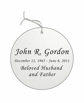 Round Double-Sided Memorial Ornament - Engraved - Silver