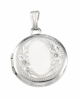 Round Floral Border Sterling Silver Memorial Locket Jewelry Necklace