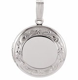 Round Floral Sterling Silver Memorial Locket Jewelry Necklace