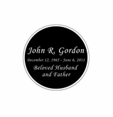Round Nameplate - Engraved Black and Silver - 1-7/8  x  1-7/8