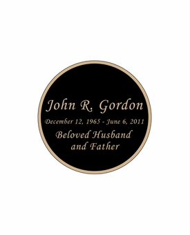 Round Nameplate - Engraved Black and Tan - 1-7/8  x  1-7/8