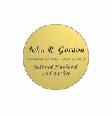 Round Nameplate - Engraved - Gold - 1-7/8  x  1-7/8