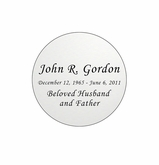 Round Nameplate - Engraved - Silver - 1-7/8  x  1-7/8