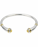 Rounded Flute Polished Sterling Silver and Gold-plated Cremation Bracelet