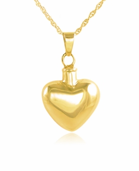 Rounded Heart Gold Vermeil Cremation Jewelry Pendant Necklace