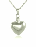 Rounded Heart Sterling Silver Cremation Jewelry Pendant Necklace
