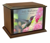 Ruby Throated Hummingbird Eternal Reflections Wood Cremation Urn - 4 Sizes