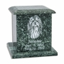 Green Ruffis Marble Engravable Pet Cremation Urn