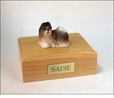 Rust Red White Shih Tzu Dog Figurine Pet Cremation Urn - 869