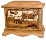 Rustic Paradise with 3D Inlay Oak Wood Cremation Urn