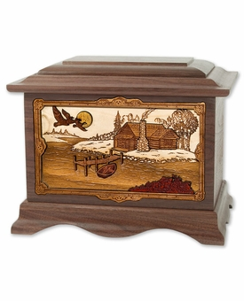 Rustic Paradise with 3D Inlay Walnut Wood Cremation Urn
