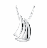 Sail Boat Sterling Silver Cremation Jewelry Pendant Necklace