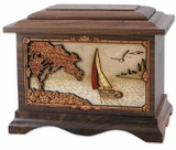 Sailboat with 3D Inlay Walnut Wood Cremation Urn