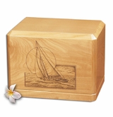 Sailing at Sunset Classic Maple Wood Cremation Urn