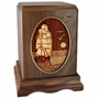 Sailing Home Tall Ship with 3D Inlay Walnut Wood Cremation Urn