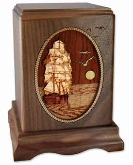 Sailing Home Tall Ship with 3D Inlay Walnut Wood Octagon Cremation Urn