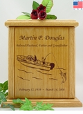 Saltwater Boat Fishermen Wood Cremation Urn
