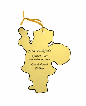 Santa Claus Double-Sided Memorial Ornament - Engraved - Gold