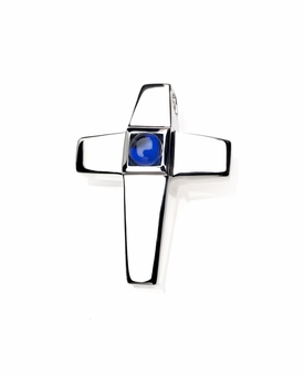 Sapphire CZ Birthstone Cross Polished Sterling Silver Cremation Necklace Pendant