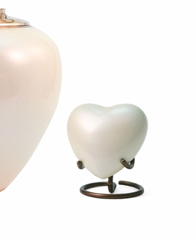 Satori Pearl Heart Brass Keepsake Cremation Urn
