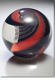 Scarlet Celestial Marble Cremains Encased in Glass Keepsake Cremation Urn