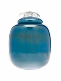 Sea Blue Flores Collection Hand Blown Glass Cremation Urn