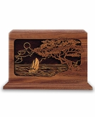 Seascape Dimensional Wood Cremation Urn - Engravable