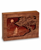 Seascape Dimensional Wood Keepsake Cremation Urn - Engravable