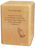 Serenity Prayer Classic Maple Wood Cremation Urn