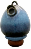 Shaded Cobalt Blue Egg Scattering Ceramic Birdhouse Cremation Urn