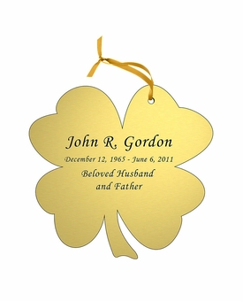 Shamrock Double-Sided Memorial Ornament - Engraved - Gold