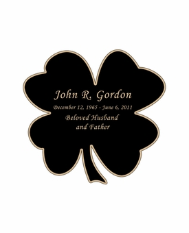Shamrock Nameplate - Engraved Black and Tan - 2-3/4  x  2-3/4