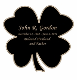 Shamrock Nameplate - Engraved Black and Tan - 3-1/2  x  3-1/2