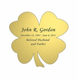 Shamrock Nameplate - Engraved - Gold - 2-3/4  x  2-3/4