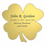 Shamrock Nameplate - Engraved - Gold - 3-1/2  x  3-1/2