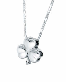 Shamrock Sterling Silver Cremation Jewelry Pendant Necklace