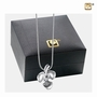 Shamrock Two Tone Sterling Silver Cremation Jewelry Pendant Necklace