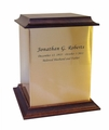 Sheet Bronze With Walnut Trim Snap-Top Cremation Urn