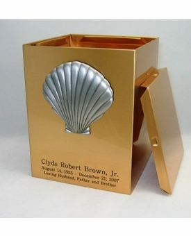 Shell Sheet Bronze Snap-Top Cremation Urn