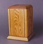 Sherwood II Vertical Oak with Accent Grooves Cremation Urn
